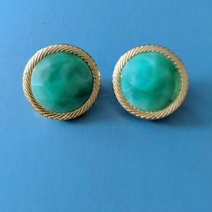 Vintage Teal/Gold Clip-on Earrings